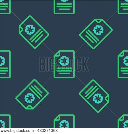 Line Medical Clipboard With Clinical Record Icon Isolated Seamless Pattern On Blue Background. Healt