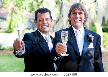 Handsome gay wedding couple toasting their marriage with champagne.