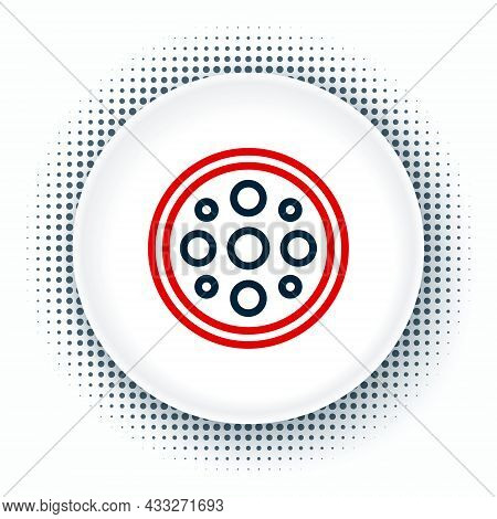 Line Sewing Button For Clothes Icon Isolated On White Background. Clothing Button. Colorful Outline