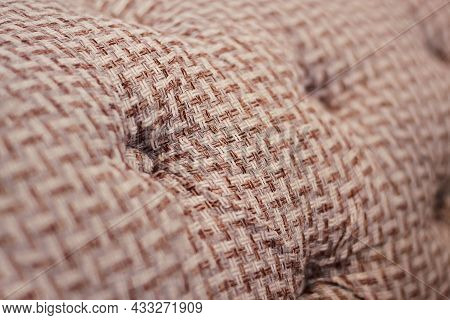 Close-up Of Fabric Upholstery Sofa, Monochrome Background, Selective Focus