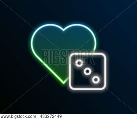 Glowing Neon Line Game Dice Icon Isolated On Black Background. Casino Gambling. Colorful Outline Con