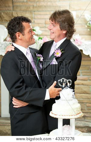 Handsome Gay couple embracing at their wedding reception.