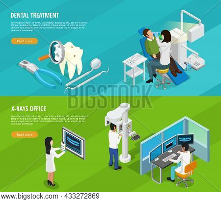 Dental Isometric Horizontal Banners With Doctors Patients Instruments And Medical Cure Of Teeth Vect