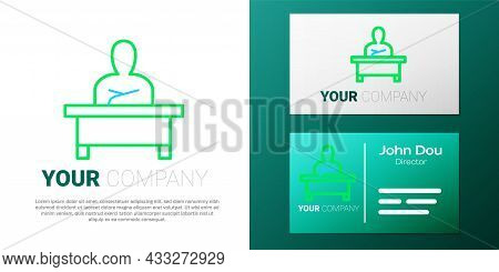 Line Schoolboy Sitting At Desk Icon Isolated On White Background. Colorful Outline Concept. Vector