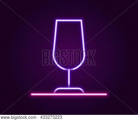 Glowing Neon Line Wine Glass Icon Isolated On Black Background. Wineglass Sign. Colorful Outline Con