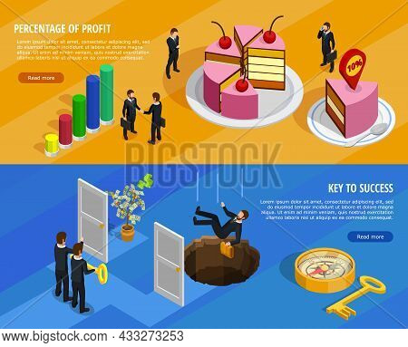 Business Development Isometric Horizontal Banners With Goal Setting And Analysis Of Result And Means