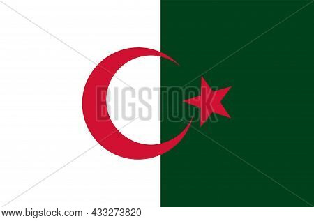 National White And Red Flag Of Algerian People's Democratic Republic. Vector Illustration.