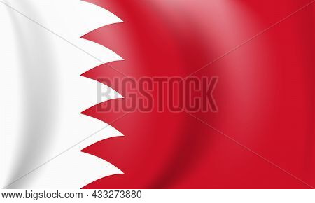 National Red And White Flag Of The Kingdom Of Bahrain. Waving Banner. Vector Illustration. Eps10