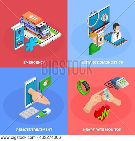 Digital Health Isometric Concept With Modern Gadgets And Methods Of Medical Monitoring And Treatment