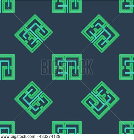 Line Evacuation Plan Icon Isolated Seamless Pattern On Blue Background. Fire Escape Plan. Vector