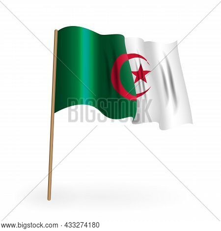 National Red And White Flag Of The Kingdom Of Bahrain. Waving Banner On A Flagpole. Vector Illustrat
