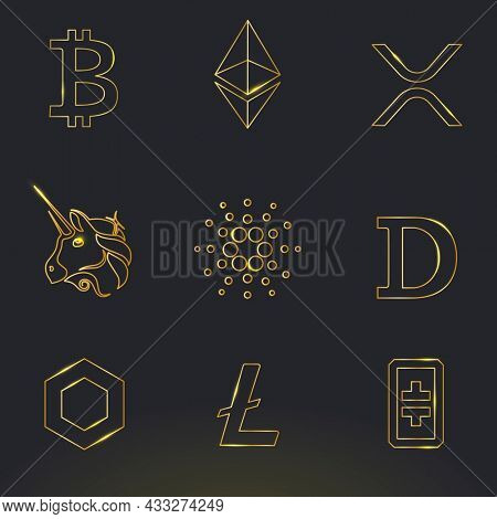 Digital asset icons in gold fintech blockchain concept collection