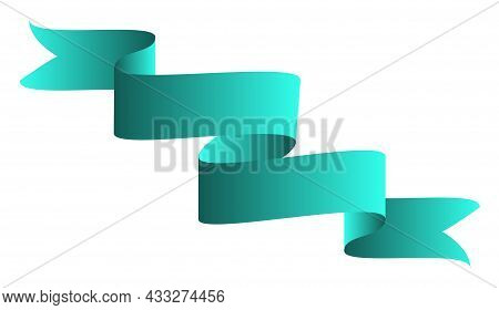 Green Colorful Curved Ribbon On White Background. Vector Illustration. Eps10