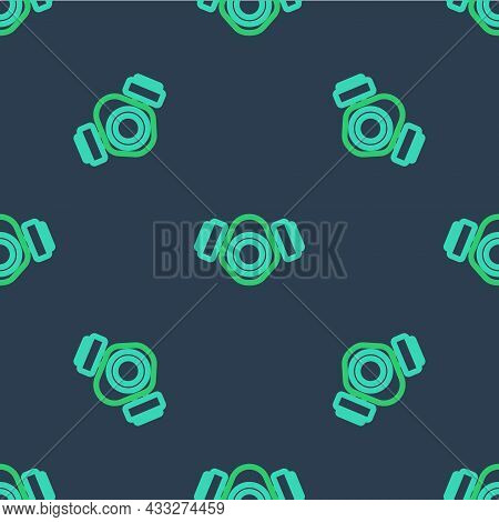 Line Gas Mask Icon Isolated Seamless Pattern On Blue Background. Respirator Sign. Vector