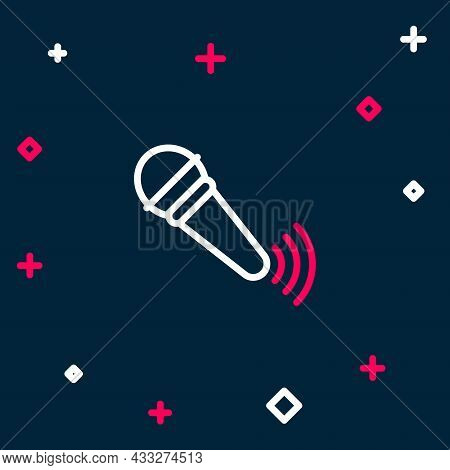 Line Wireless Microphone Icon Isolated On Blue Background. On Air Radio Mic Microphone. Speaker Sign