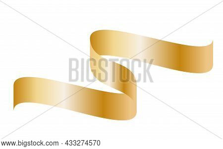 Gold Colorful Curved Ribbon On White Background. Vector Illustration. Eps10