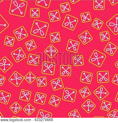 Line Paddle Icon Isolated Seamless Pattern On Red Background. Paddle Boat Oars. Vector