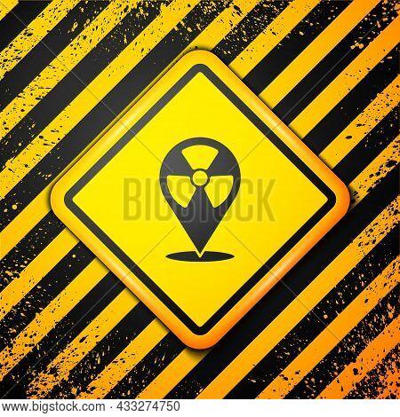 Black Radioactive In Location Icon Isolated On Yellow Background. Radioactive Toxic Symbol. Radiatio