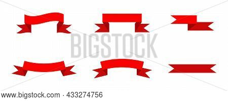 Set Of Red Colorful Curved Ribbon On White Background. Vector Illustration. Eps10