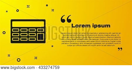 Black Calculator Icon Isolated On Yellow Background. Accounting Symbol. Business Calculations Mathem