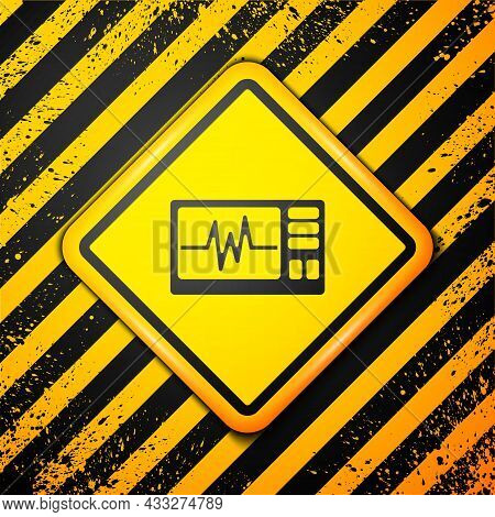 Black Computer Monitor With Cardiogram Icon Isolated On Yellow Background. Monitoring Icon. Ecg Moni