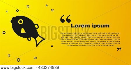 Black Tropical Fish Icon Isolated On Yellow Background. Exotic Fish. Vector