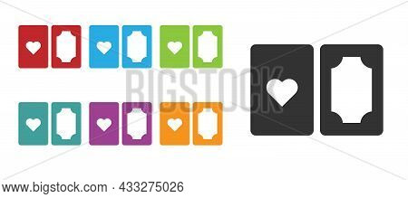 Black Deck Of Playing Cards Icon Isolated On White Background. Casino Gambling. Set Icons Colorful.