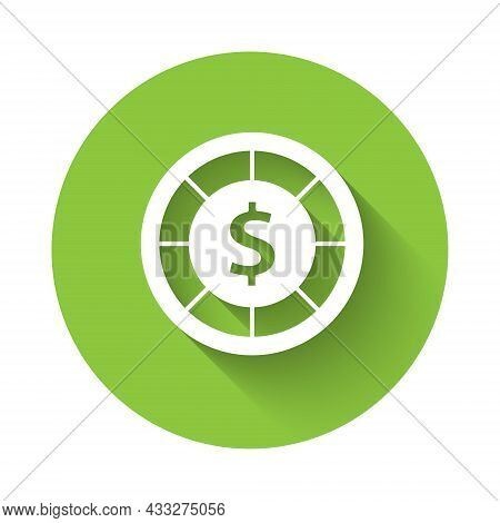 White Casino Chips Icon Isolated With Long Shadow. Casino Gambling. Green Circle Button. Vector