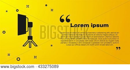Black Studio Light Bulb In Softbox Icon Isolated On Yellow Background. Shadow Reflection Design. Vec