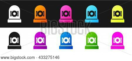 Set Ringing Alarm Bell Icon Isolated On Black And White Background. Alarm Symbol, Service Bell, Hand