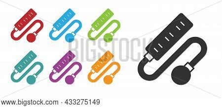 Black Electric Extension Cord Icon Isolated On White Background. Power Plug Socket. Set Icons Colorf