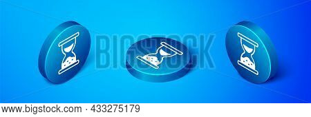 Isometric Old Hourglass With Flowing Sand Icon Isolated On Blue Background. Sand Clock Sign. Busines