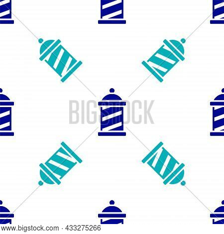 Blue Classic Barber Shop Pole Icon Isolated Seamless Pattern On White Background. Barbershop Pole Sy