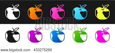 Set Apple Icon Isolated On Black And White Background. Excess Weight. Healthy Diet Menu. Fitness Die
