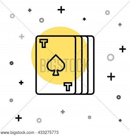 Black Line Deck Of Playing Cards Icon Isolated On White Background. Casino Gambling. Random Dynamic