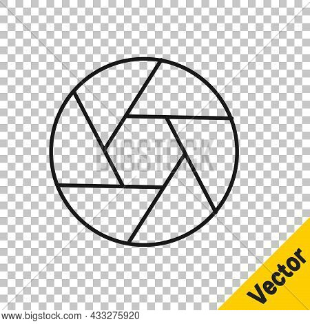 Black Line Camera Shutter Icon Isolated On Transparent Background. Vector