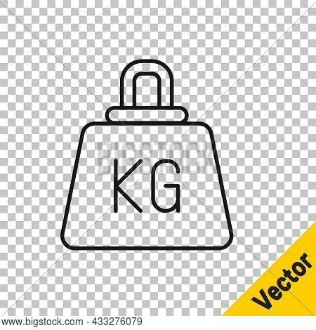 Black Line Weight Icon Isolated On Transparent Background. Kilogram Weight Block For Weight Lifting