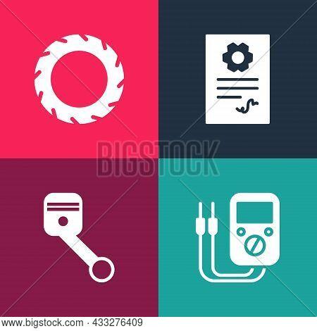 Set Pop Art Multimeter, Engine Piston, Auto Service Check Automotive And Car Tire Wheel Icon. Vector