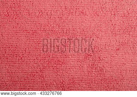 Microfiber Towel Red Terry Texture Wrist Watch. Microfiber Cloth With Close-up. Fabric Structure Bac