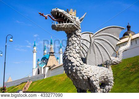 Kazan, Russia - June 16, 2021: Kazan Kremlin In Summer, Tatarstan, Russia. It Is Top Tourist Attract