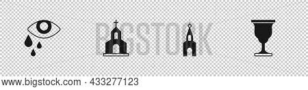 Set Tear Cry Eye, Church Building, And Christian Chalice Icon. Vector