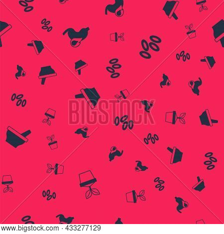 Set Plant In Pot, Stomach Heartburn, Mortar And Pestle And Hemoglobin On Seamless Pattern. Vector