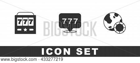Set Slot Machine With Jackpot, And Casino Chips Icon. Vector