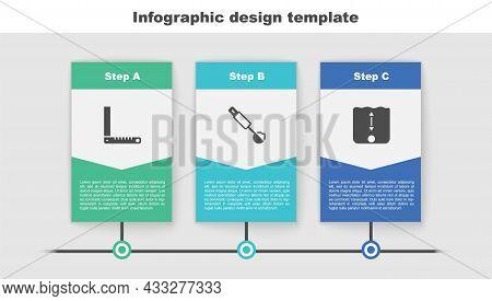 Set Corner Ruler, Measuring Spoon And Depth Measurement. Business Infographic Template. Vector