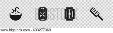 Set Washbasin, Barber Online Service Or Platform, Blade Razor And Hairbrush Icon. Vector
