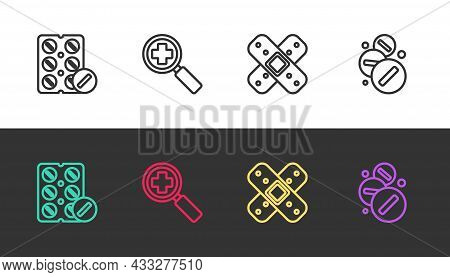 Set Line Pills In Blister Pack, Magnifying Glass For Search Medical, Crossed Bandage Plaster And Med