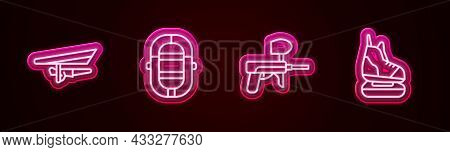 Set Line Hang Glider, Rafting Boat, Paintball Gun And Skates. Glowing Neon Icon. Vector