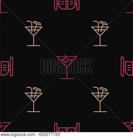 Set Line Saloon Door, Cocktail And Martini Glass On Seamless Pattern. Vector