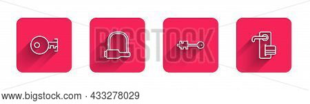 Set Line Key, Bicycle Lock, Old Key And Digital Door With Long Shadow. Red Square Button. Vector