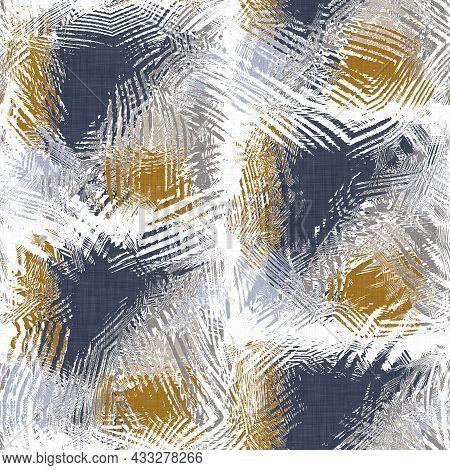 Masculine Geometric Glitch Seamless Pattern. Distorted Navy Blue White Retro Geo Shape For Men Fashi